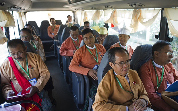 NLD members on their way to parliament source. afp.jpg